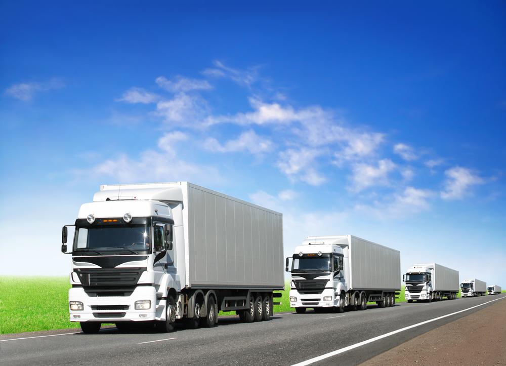 Caravan of white trucks on highway